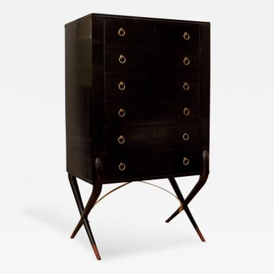 Ebonized Highboy Dresser with X Form Base and Brass Accents