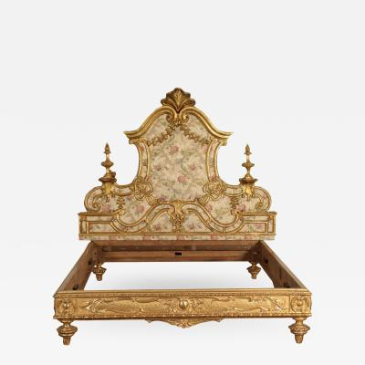 Eclectic Neo Baroque Big Bed Italy 19th Century
