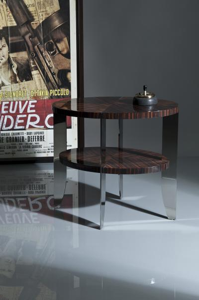 Eclipse Side Table in Natural Macassar and Polished Stainless Steel