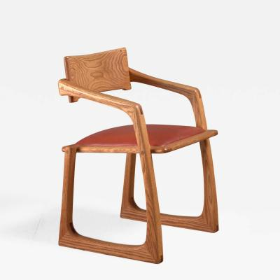 Ed Steckmest Studio Craft Chair with Leather Seat USA 1970s