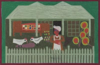 Eddie Arning Woman in Front of House with 2 Chickens