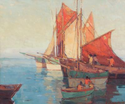 Edgar Alwin Payne Boats in the Harbor