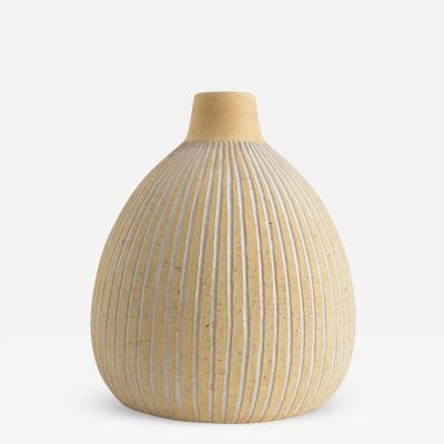 Edgar Bockman EDGAR B CKMAN Scandinavian modern partial glazed ceramic vase for HOGANAS 1940