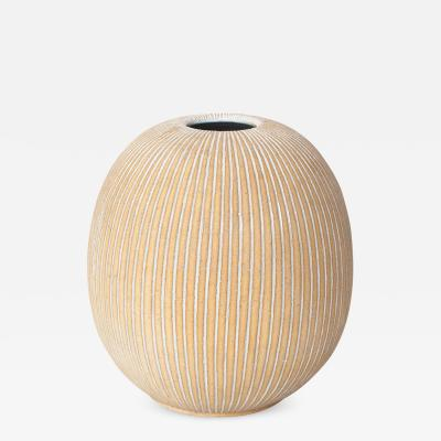 Edgar Bockman Scandinavian Modern Partial Glazed Ceramic Vase by Edgar Bockman