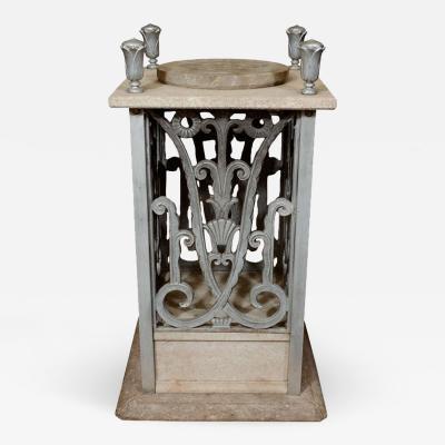 Edgar Brandt Art Deco Pedestal with Floral Detailing by Edgar Brandt