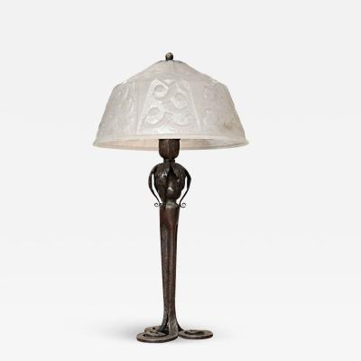 Edgar Brandt Art Deco Table Lamp by Edgar Brandt Daum