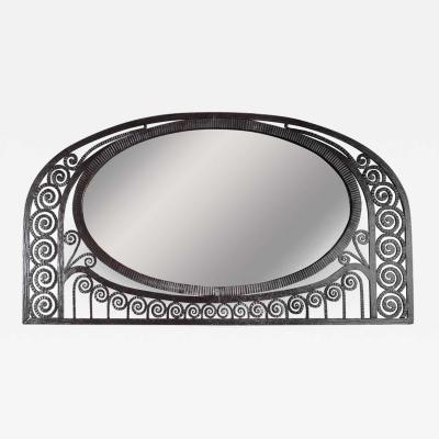 Edgar Brandt Art Deco Wrought Iron Mirror with Scroll Detailing in the Manner of Edgar Brandt