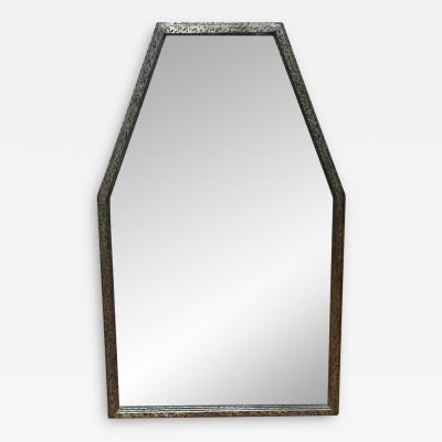 Edgar Brandt Early Modern Cubist Hammered Wrought Iron Mirror Attributed to Edgar Brandt