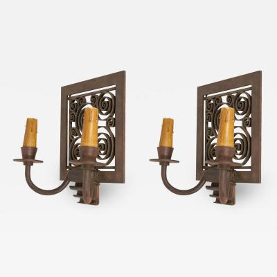 Edgar Brandt Edgar Brandt Pair of Art Deco Wall Sconces