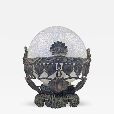 Edgar Brandt Edgar Brandt manner French Art Deco Bronze and Glass Light Fixture