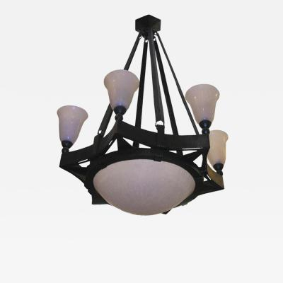 Edgar Brandt French Art Deco Chandelier by Edgar Brandt and Daum