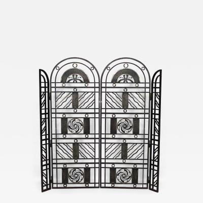 Edgar Brandt French Art Deco Wrought Iron Filigree Circle Design 4 Panel Gate