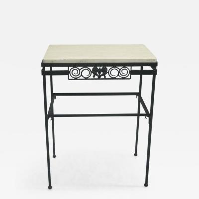 Edgar Brandt French Wrought Iron and Stone Console or Nightstand Edgar Brandt