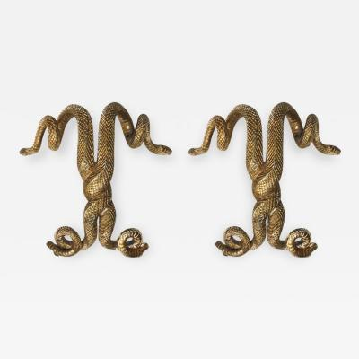 Edgar Brandt Pair Of Sculptural Bronze Door Handles Attributed To Edgar Brandt France 30s
