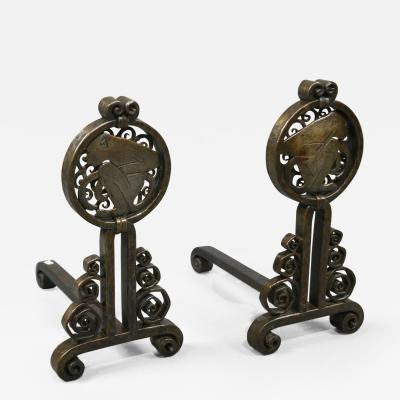Edgar Brandt Pair of Andirons by Edgar Brandt 1880 1960 France ca 1925