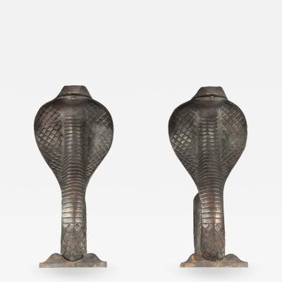 Edgar Brandt Pair of Cobra Andirons in bronze By Edgar Brandt