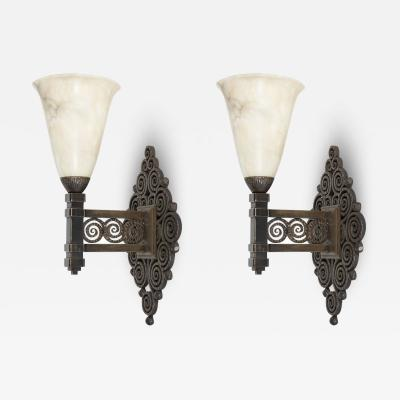 Edgar Brandt Pair of Edgar Brandt wall sconces