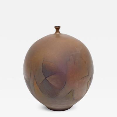 Edgardo Abbozzo Glazed Earth Tone Ceramic Vase by Edgardo Abbozzo Italy 1965