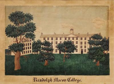 Edith A H R Simmons Watercolor of Randolph Macon College Virginia 1840 45