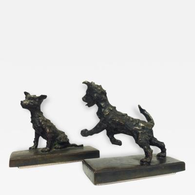 Edith Barretto Stevens Parsons Pair of Bronze Terrier Dog Bookends