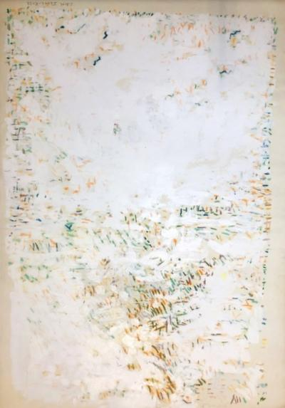 Edith Isaac Rose Large 1980s Abstract Painting White and Sprinkles NYC Artist Edith Isaac Rose