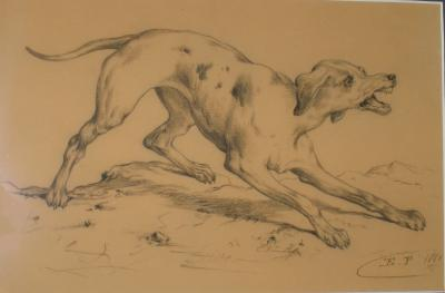 Edmond Joseph de Pratere A Hunting Dog