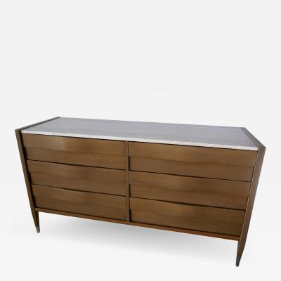 Edmond Spence American Modern Cerused Gray Walnut and Travertine Marble Top Six Drawer Chest