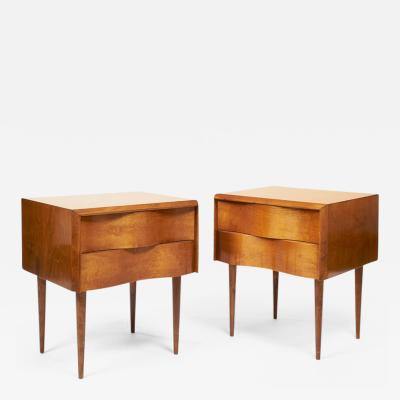 Edmond Spence Exceptional Pair of Edmond Spence Wave Front Side Tables circa 1955