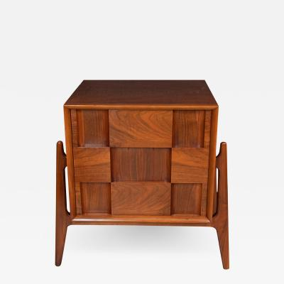 Edmond Spence PAIR OF WALNUT CHECKERED NIGHT STANDS SIDE TABLES by Edmond J Spence