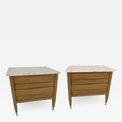 Edmond Spence Pair of American Modern Cerused Gray Walnut and Travertine Marble Night Tables