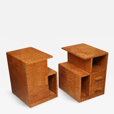 Edmond Spence Pair of Burled Maple Nightstands Probably Sir Edmond Spence