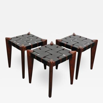 Edmond Spence Set of Three Leather and Solid Stained Teak Stools by Edmond Spence