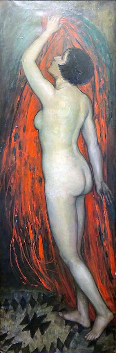 Edmond van Offel Standing Nude Holding a Red Dress Staand naakt met rood kleed in de handen
