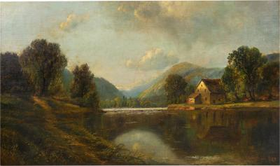 Edmund Darch Lewis Large Painting of River Landscape by Edmund Darch Lewis American 1835 1910