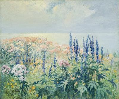 Edmund Henry Garrett Phlox and Delphinium by the Sea Cape Cod