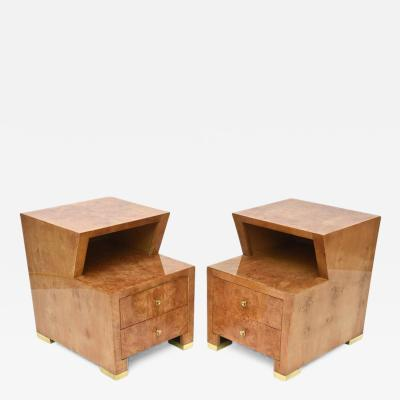 Edmund Spence Pair of Sir Edmund Spence Burled Maple Two Drawer Night or End Tables