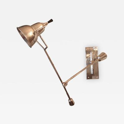 Edouard Buquet 1920s Adjustable Chrome Wall Lamp by Edouard Buquet