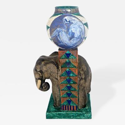 Edouard Cazaux Art Deco Nude and Elephant Vase by Edouard Cazaux