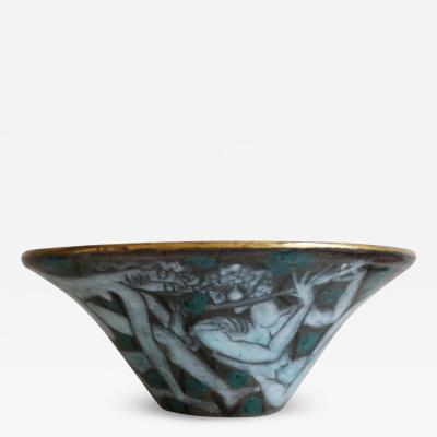 Edouard Cazaux Large Enameled Cup in Earthenware by Edouard Cazaux France Art Deco 1920 1930