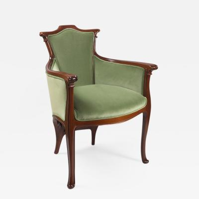 Edouard Colonna French Art Nouveau Wooden Armchair by Edouard Colonna