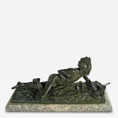 Edouard Drouot Original Bronze American Indian Crawling Hunting