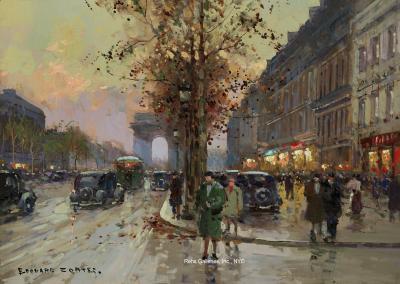 Edouard Leon Cortes Les Champs Elysees et lArc de Triomphe