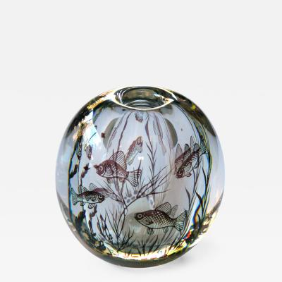 Edvard Hald A Swedish Orrefors Cased Glass Fish Graal Signed Edvard Hald