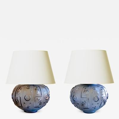 Edvin Ollers Modern Classicism Lamps in Sapphire Blue by Edvin Ollers for Elme