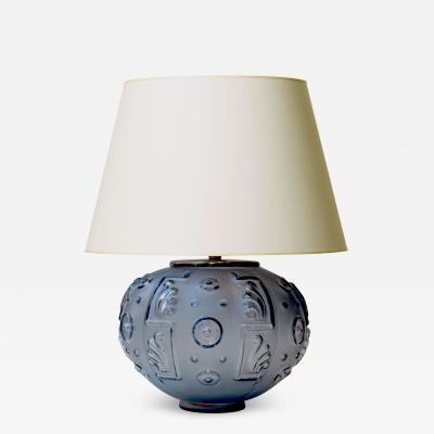 Edvin Ollers Spectacular Modern Classicism Table Lamp in Sapphire Blue Glass by Edvin Ollers