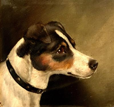 Edward Aistrop English Victorian portrait of a jack Russell Dog