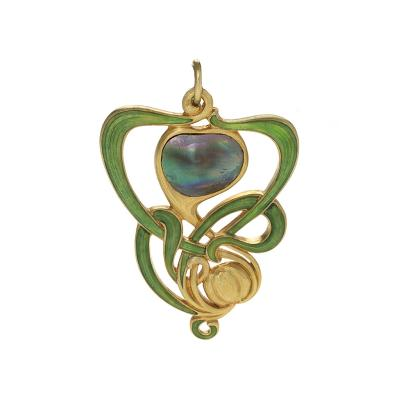 Edward Colonna Edward Colonna French Art Nouveau Abalone Pearl Enamel and Gold Pendant