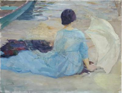 Edward Cucuel Edward Cucuel Oil Sketch At the Shore