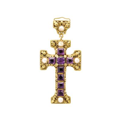 Edward Everett Oakes Arts and Crafts Gold and Amethyst Cross Pendant