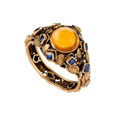 Edward Everett Oakes Attributed Arts and Crafts Citrine Sapphire and Gold Ring